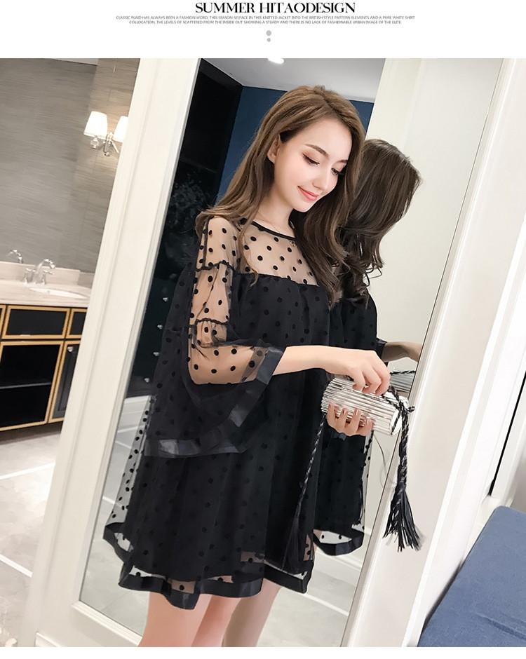Черное платье из сетки в горошек