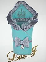 """Демисезонный конверт-одеяло """"Очарование"""" ментоловый с серым"""
