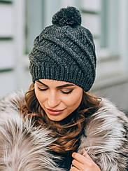 Вязаная шапка с бомбоном Spiks, темно-серый
