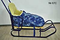 Теплый конверт с высокой спинкой на овчине для санок и колясок