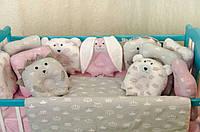 Детское постельное польская бязь защита на кроватку игрушки - подушки, розовый серый зайчики ежики бублики