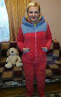 Пижама  женская махровая  с длинным рукавом 42-50,доставка по Украине