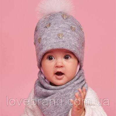 Набор однотонная шапочка на завязки с меховым помпоном + хомут 44 см Dembohouse (Україна) Зима серый