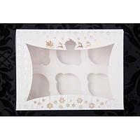 Новогодняя коробка для 6 капкейков с золотым узором