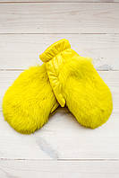 Цветные меховые детские варежки  V 54321 - Желтый