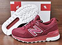 Подростковые, детские бордовые кроссовки New Balance 574. Последняя пара 37-23.5см