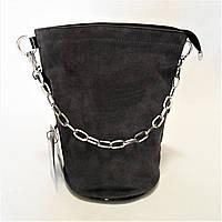 Женская сумочка замша серого цвета с цепочкой RRI-300933, фото 1