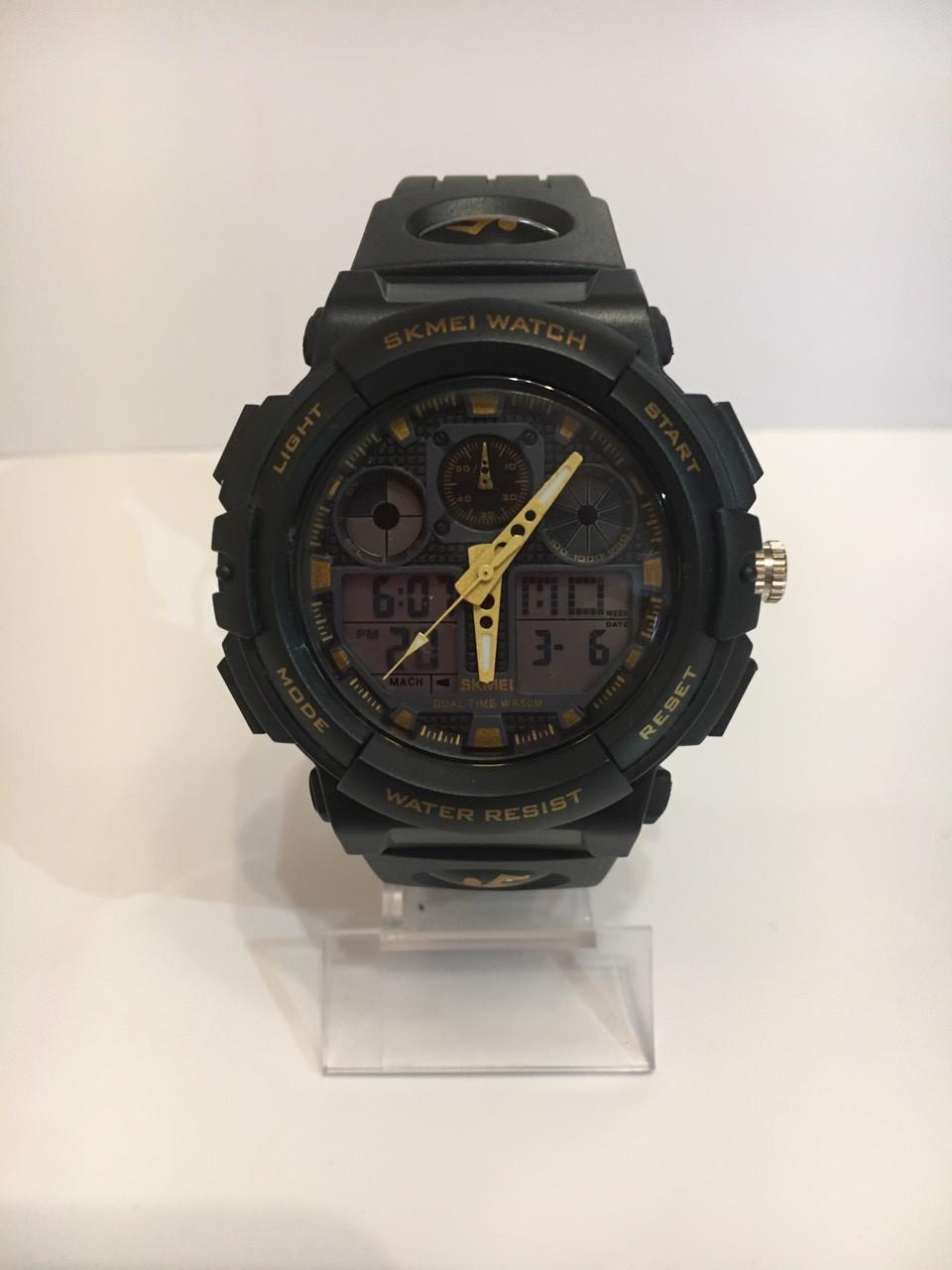 Мужские спортивные водостойкие часы SKMEI (Скмей), черный с желтым
