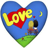 Подушка в виде сердца Love is синяя