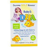 Омега-3 с витамином D3, ДГА для младенцев и детей, 1050 мг, жидкий, 59 мл, California Gold Nutrition