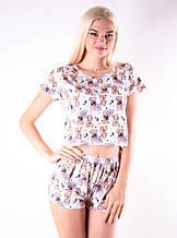 Молодежная пижама топик шорты+ футболка