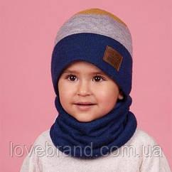 Шапочка + хомут для мальчика Dembohouse (Украина) зимняя обх/46 см