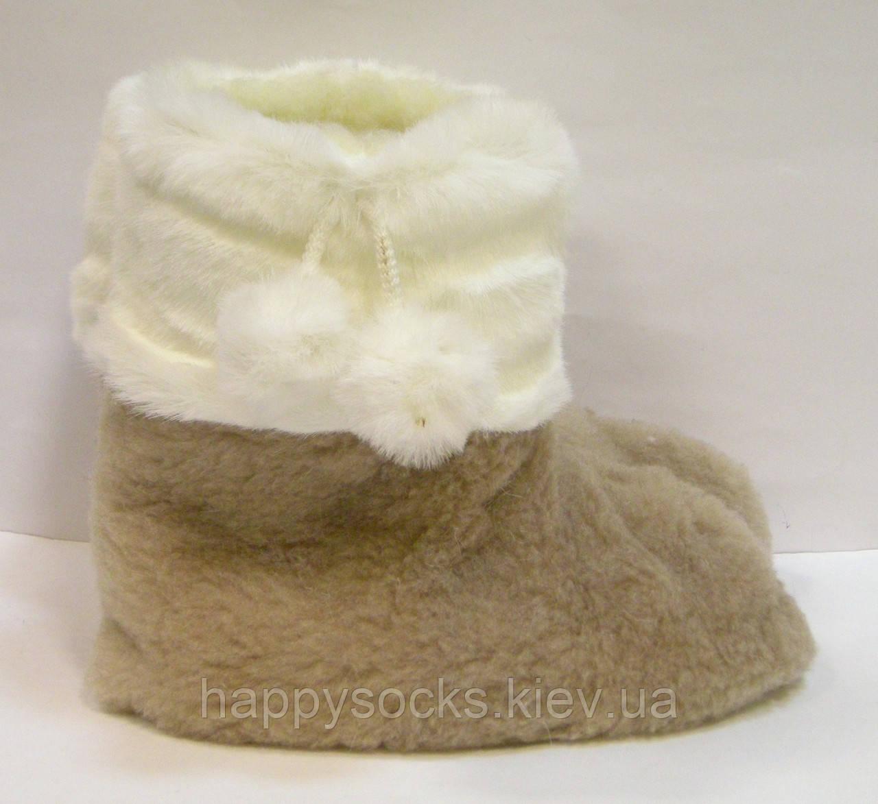 Тапочки-сапожки меховые с помпоном из кролика женские для дома