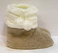 Тапочки-сапожки меховые с помпоном из кролика женские для дома, фото 1