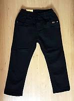 Черные котоновые брюки на флисе для мальчика