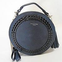 Круглая женская сумочка DAVID DJONES темно-голубого цвета DDT-020804, фото 1