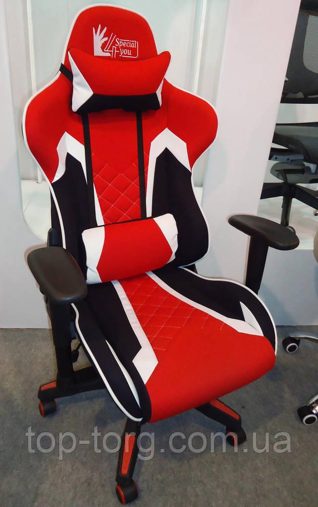 Кресло геймерское спорт ExtremeRace 3 black/red черно-красное с белым