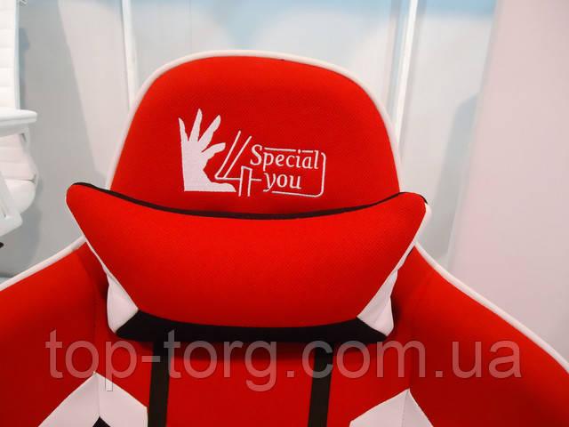 Кресло геймерское спорт ExtremeRace 3 black/red черно-красное с белым. Мягкая подушечка подголовника