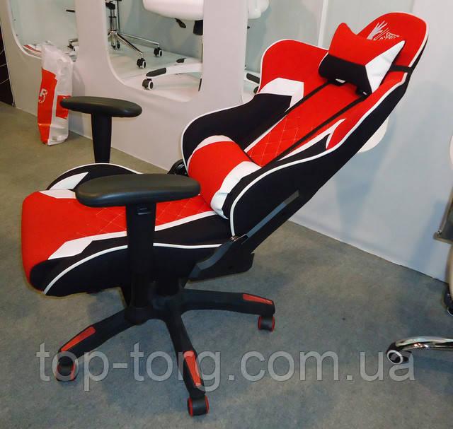 Кресло геймерское спорт ExtremeRace 3 black/red черно-красное с белым. Спинка наклоняется и фиксируется в любом положении