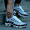 "Мужские кроссовки Nike Air Max Tn+ ""White/Black"" (Найк Аир Макс ТН Плюс) белые, фото 3"