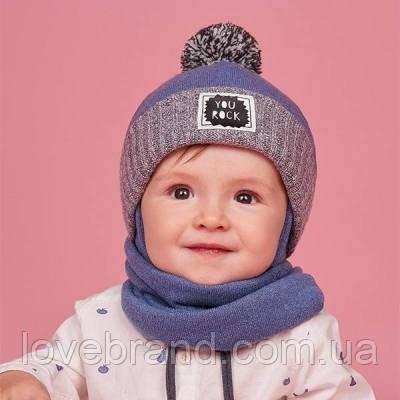 Шапочка на завязку + хомут для мальчика Dembohouse (Украина) зимняя синяя с помпоном