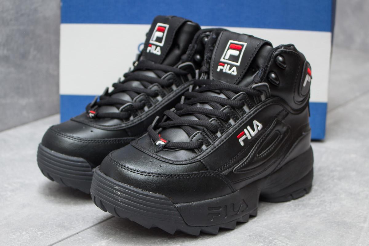 Зимние ботинки  на меху Fila Disruptor 2 High, черные (30191) размеры в наличии ► [  37 (последняя пара)  ]