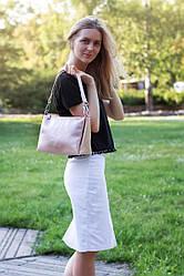 Женская кожаная сумочка кроссбоди 36 пудра с перламутром 01360113-1