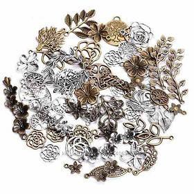 Набір з 100 металевих підвісок шармов шармиков, листя