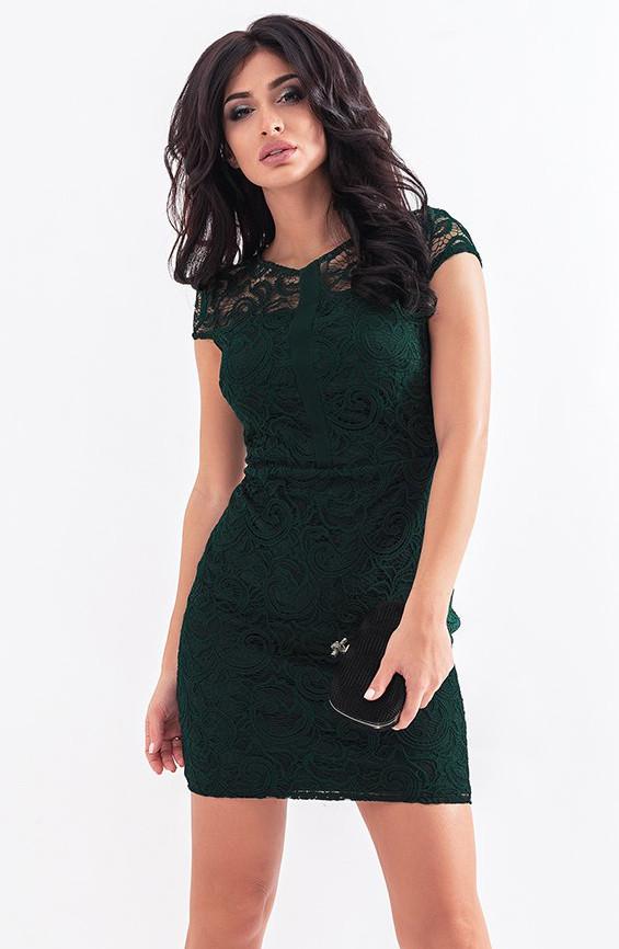 5a502e46c2c Вечернее платье с гипюром зеленого цвета. Модель 19741. Размеры 42-46 - Irse