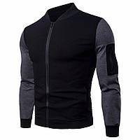 Модная мужская куртка демисезонная: весна-осень! Серо черная куртка на молнии!, фото 1