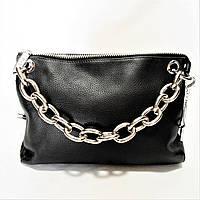 Симпатичная женская сумка из кожи черного цвета с цепочкой OКК-210069