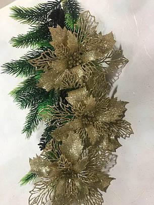 Новогодний декор.Пуансетия новогодняя золотая., фото 2