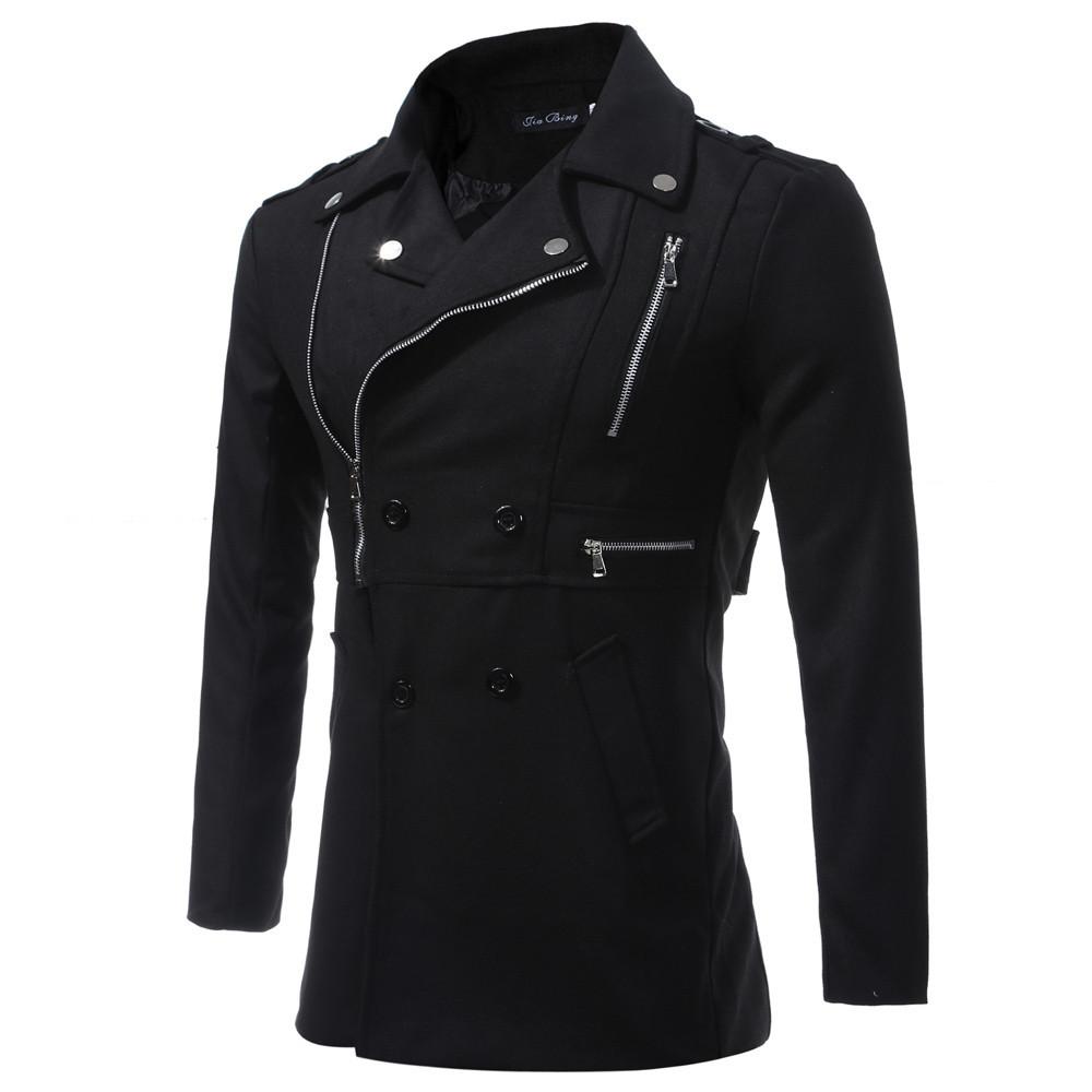 Модная мужская куртка демисезонная: весна-осень! Черное мужское пальто на молнии и пуговицах!