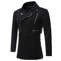 Модная мужская куртка демисезонная: весна-осень! Черное мужское пальто на молнии и пуговицах!, фото 1