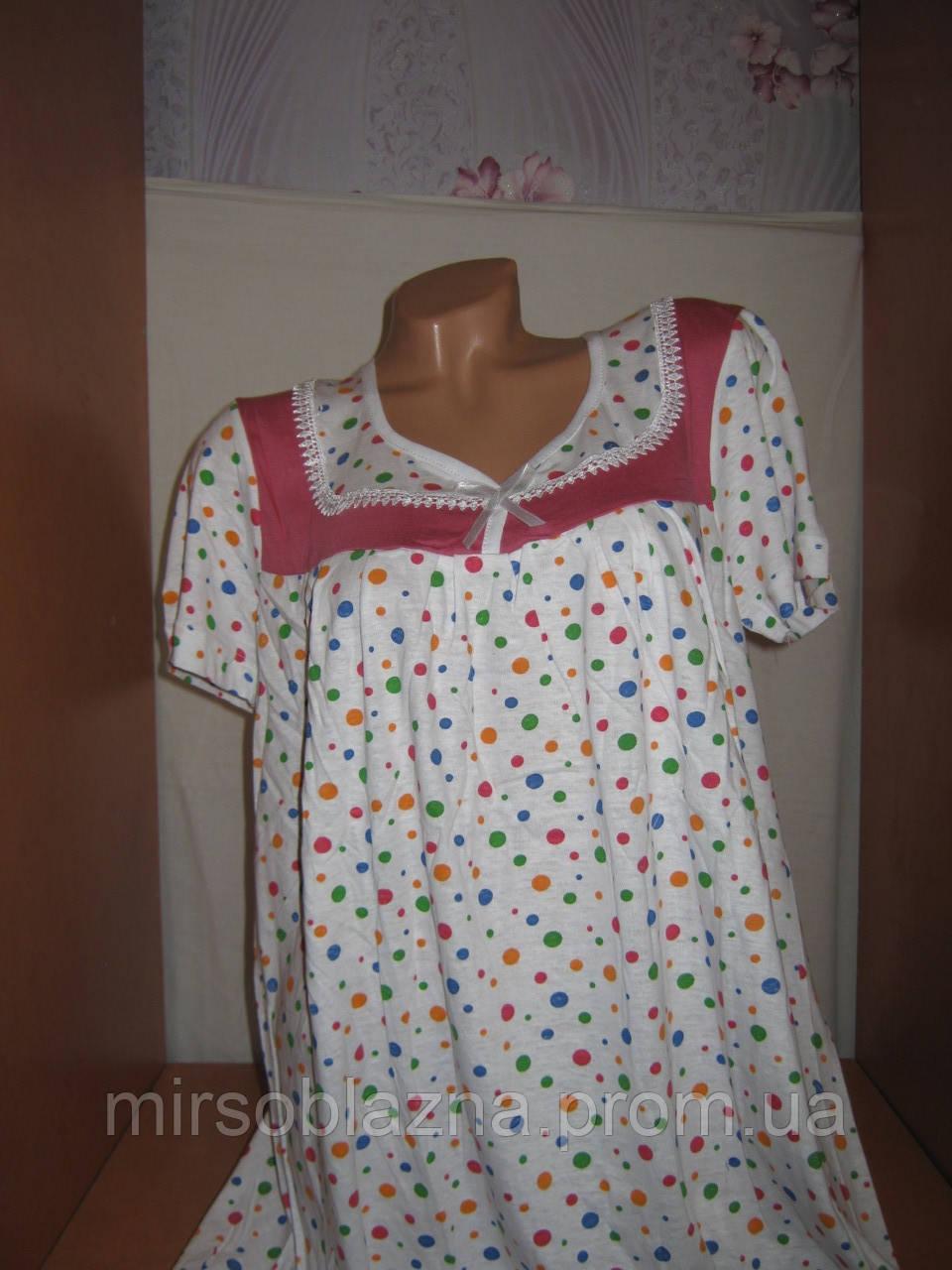 78a969f8042f5f7 Ночная рубашка 100% хлопок пр-во Узбекистан белая в горошек, размер L (