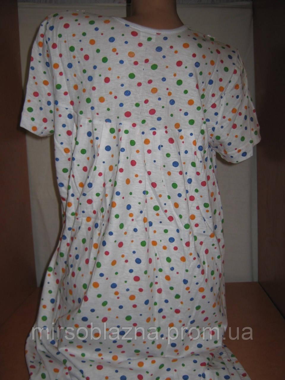 7e4c691b53fe0a8 ... Ночная рубашка 100% хлопок пр-во Узбекистан белая в горошек, размер XXL  (