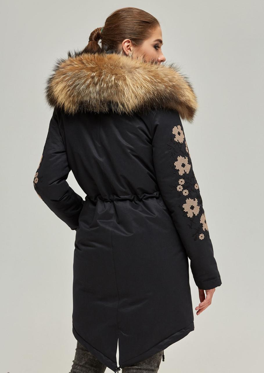 71940b05bada Парка с мехом женская удлиненная зимняя куртка теплая с вышивкой (енот) -  Bigl.ua