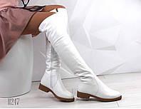 Женские зимние белые ботфорты 11247