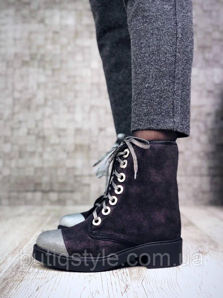 36, 40 размер! Ботиночки женские с серебрянным носком, натуральная замша, внутри байка