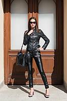"""Узкие кожаные женские брюки """"Rikler"""" со стегаными вставками"""