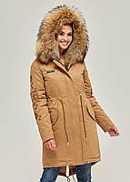 Парка с мехом женская удлиненная зимняя куртка теплая (енот)