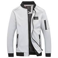 Модная мужская куртка демисезонная: весна-осень! Стильная белая куртка из экокожи, фото 1