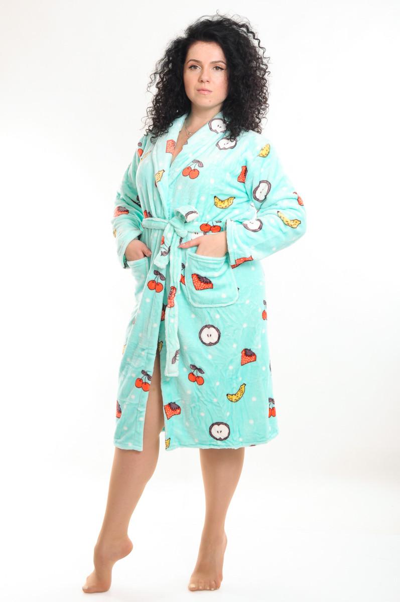 Женский халат на запах теплый