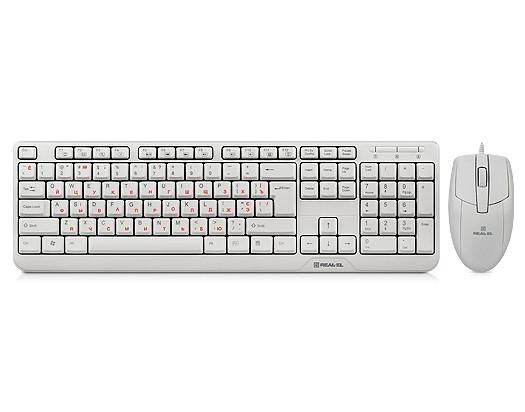 Комплект клавиатура + мышка REAL-EL Standard 505 Kit USB Белый UAH