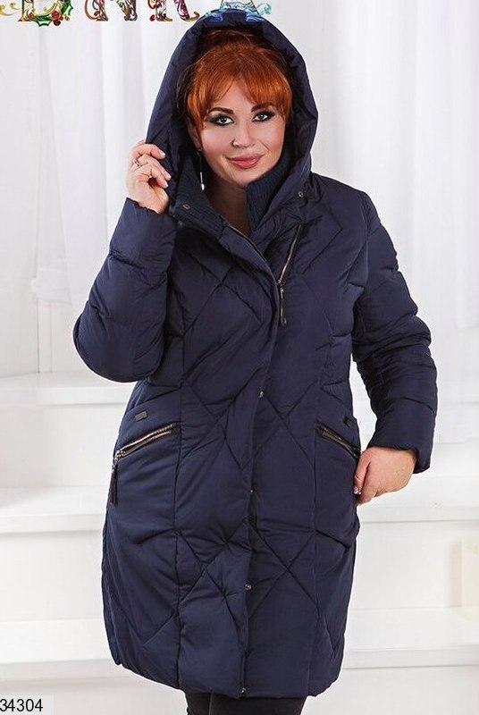 Куртка зимняя удлиненная с капюшоном женская размеры: 48-56