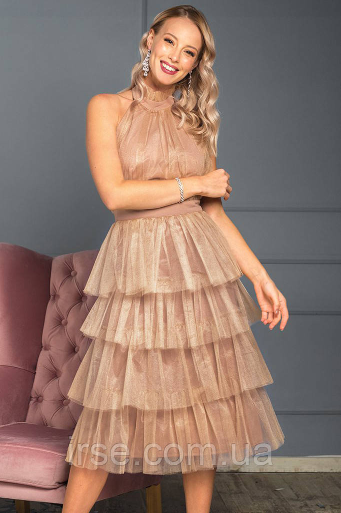 5ab5e5e08c5 Вечернее платье с воланами из фатина бежевого цвета. Модель 19724. Размеры  42-46