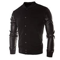 Модная мужская куртка демисезонная: весна-осень! Комбинированная куртка черная!, фото 1