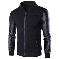 Модная мужская куртка демисезонная  весна-осень! Комбинированная куртка  черная на молнии! f55fe44c65763