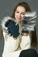Варежки с натуральным мехом Песца и Чернобурки ПП55