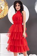 Вечернее платье с открытой спиной и пышной юбкой красного цвета. Модель 19792. Размеры 42-46